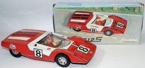 Rare 1969 Tin Friction Ferrari 512 S Race Car With