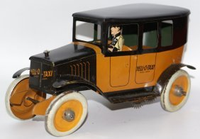 Rare Tin Wind-up Yell-o-taxi Cab Car With Driver, By