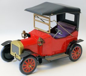 Rare Tin B.o. Touring Car W/ Working Headlights And