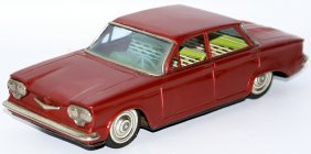 Tin Friction Chevrolet Chevy Corvair Red Sedan Toy Car,