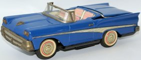 Tin B.o. Ford Skyliner Sports Car W/ Retractable Roof,
