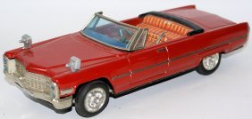 Tin B.o. Red Cadillac Convertible Car, By Bandai, Japan