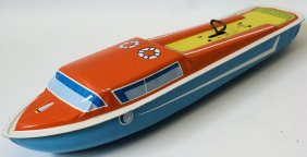 Tin Wind-up Clockwork Ohio Art Cabin Cruiser Boat