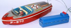 Rare 50's Tin B.o. R.c. Zoom Boat F-570, By K Japan