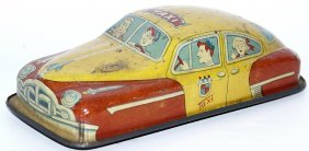 Tin Friction Yellow & Orange Taxi Car, Marked Hadson -