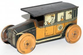 Rare Tin Clockwork Wind-up Checker Taxi Cab, Mohawk