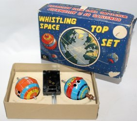 Rare 1958 Marx Whistling Space Top Set In The Original