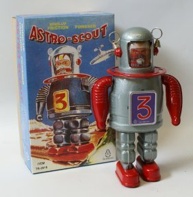 #tr-2010 Wind-up Friction Tin Astro-scout In Box, Tin