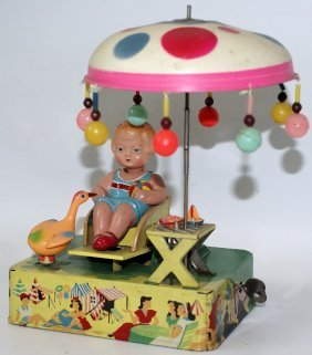 Rare Tin And Celluloid Happy Life Wind-up Toy, By Alps,