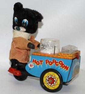 Tin B.o. Popcorn Vendor Toy, By S&e / Cragstan, Japan