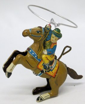 50s Tin Windup Cowboy Figure Riding Horse With Lasso,
