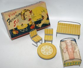 Rare Tin Baby's Furniture Set With Celluloid Baby Doll,