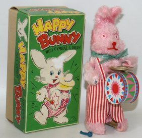 Wind-up Happy Bunny With Cymbal & Drum, By Fuji Press