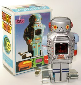 Tin Wind-up Spark Robot Space Toy Jmt36, Mint In