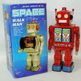 1990's Tin B.o. Red Walk Man Space Robot In Box