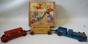 40's Noma Woodies Wooden Train Set Pull Toy In Original