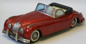 Bandai Tin Metallic Wine Red Convertible Jaguar Xk-120