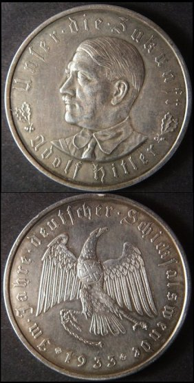 1933 Pre-wwii Germany Hitler Medal Coin, Unc.