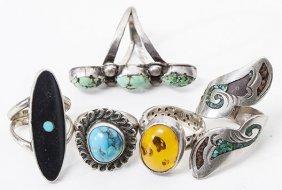 Five Navajo Silver Rings