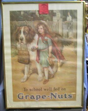 0925 Grape Nuts Self Framed Tin Sign Quot To School Well