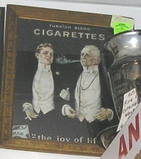 Reverse Painted Glass Turkish Cigarettes Advertising
