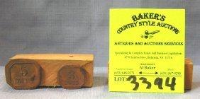 Pair Of Vintage Brass Tokens