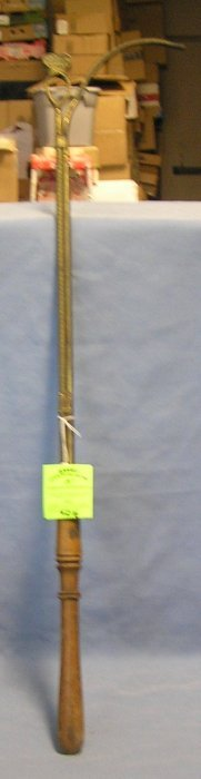Antique Brass And Wood Street Lamp Lighter Marked Ny