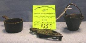 Group Of Three Vintage Cast Iron Miniature Stove