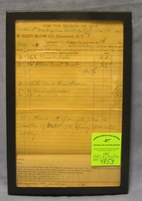 Antique Invoice From The W. Eddy Plow Company
