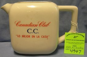 Vintage Canadian Club Advertising Whiskey Water Pitcher