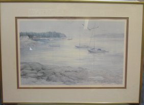 "Signed And Numbered Lithograph ""quiet Cove"""