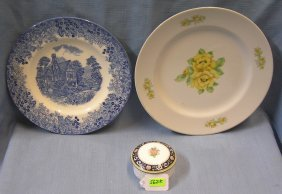 Pair Of Vintage Plates And Trinket Box