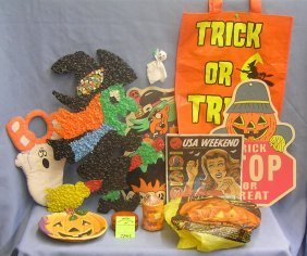 Group Vintage And Modern Halloween Decorations