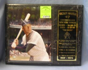 Mickey Mantle All Star Color Photo Plaque