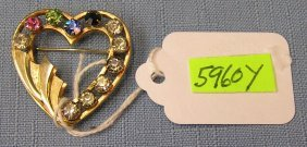 Early Gold Filled Heart Shaped Pin