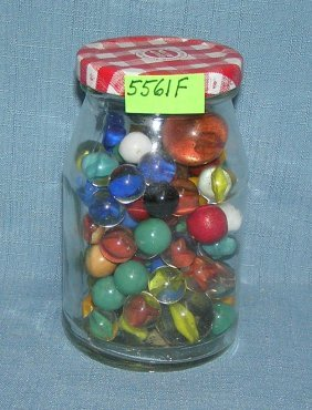 Jar Full Of Vintage Marbles