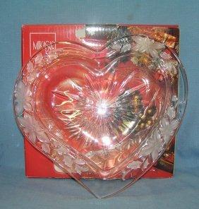 Mikasa Crystal Heart Shaped Serving Bowl