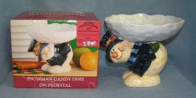 Hand Painted Earthenware Snowman Candy Dish