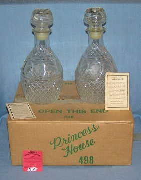 Pair Of Glass Liquor Decanters With Original Box