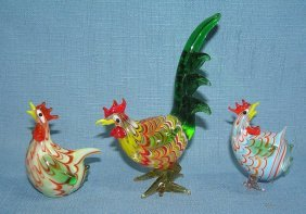 Group Of 3 Hand Painted Murano Glass Figurines