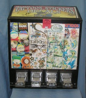 Vintage Coin Op Tattoo Stickers And Decal Machine