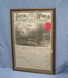 Early Irish World Framed Newspaper Dated 1874