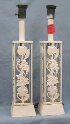 Vintage Wrought Iron Fruit Decorated Table Lamps