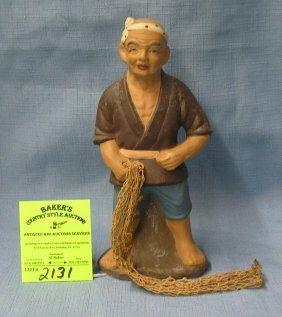 Vintage Japanese Fisherman All Hand Painted