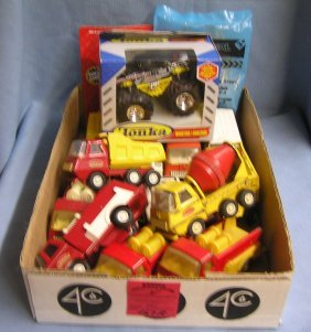 Box Full Of Vintage Tonka Toy Trucks
