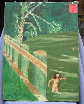 Vintage Oil On Canvas Female Nude Painting