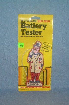 Mint On Card Wc Fields Figural Battery Tester