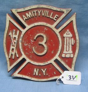 Vintage Fire Dept Painted Metal Shield