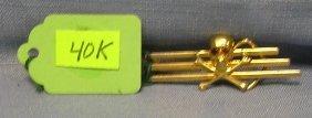 14k Gold Plated Skull And Crossbones Tie Clip