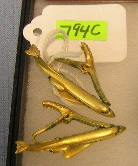 Early Gold Toned Airline/aviation Tie Clasps